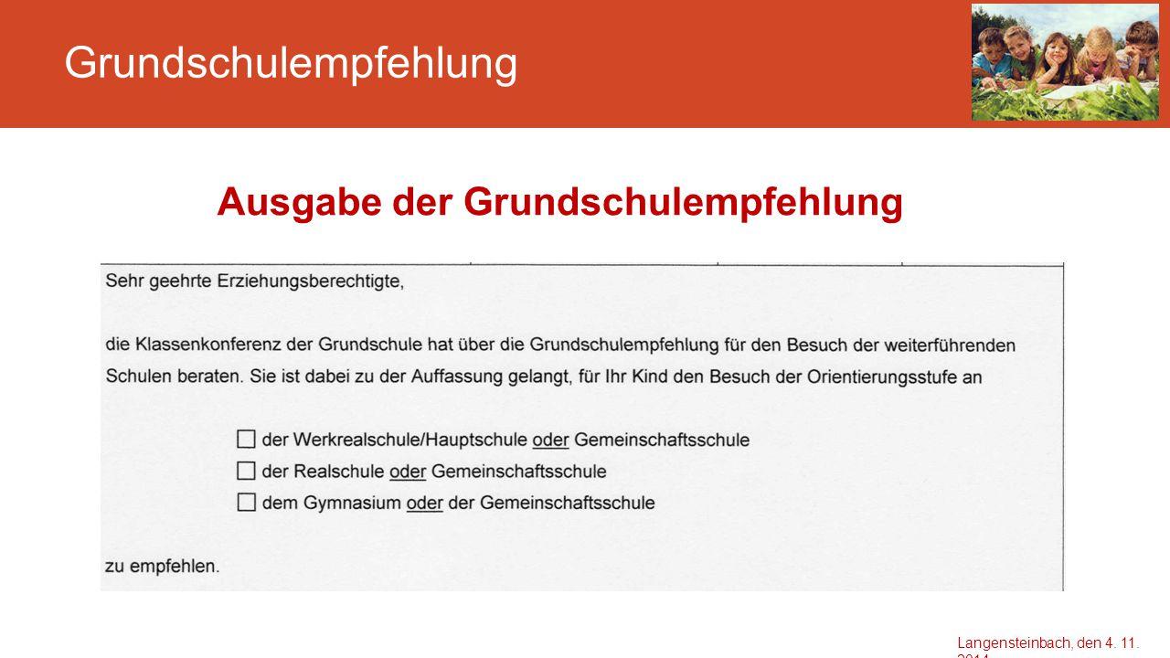 Grundschulempfehlung Anmeldung an der weiterführenden Schule Mittwoch, 25.