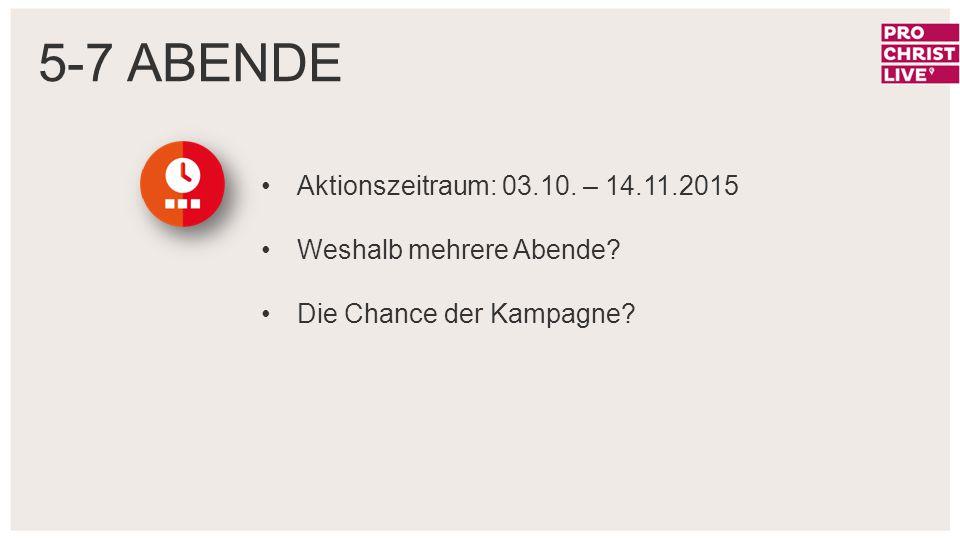 Aktionszeitraum: 03.10. – 14.11.2015 Weshalb mehrere Abende? Die Chance der Kampagne? 5-7 ABENDE