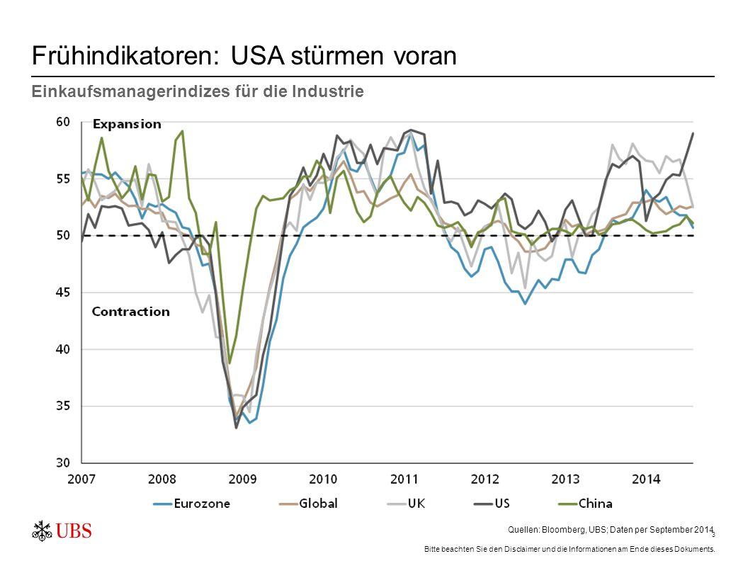 3 Frühindikatoren: USA stürmen voran Einkaufsmanagerindizes für die Industrie Quellen: Bloomberg, UBS; Daten per September 2014 Bitte beachten Sie den