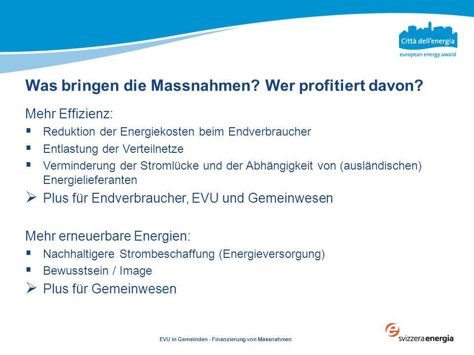 Clicca per modificare testo EVU in Gemeinden - Finanzierung von Massnahmen Mehr Effizienz:  Reduktion der Energiekosten beim Endverbraucher  Entlast