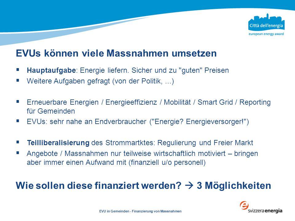 Clicca per modificare testo EVU in Gemeinden - Finanzierung von Massnahmen  Hauptaufgabe: Energie liefern. Sicher und zu