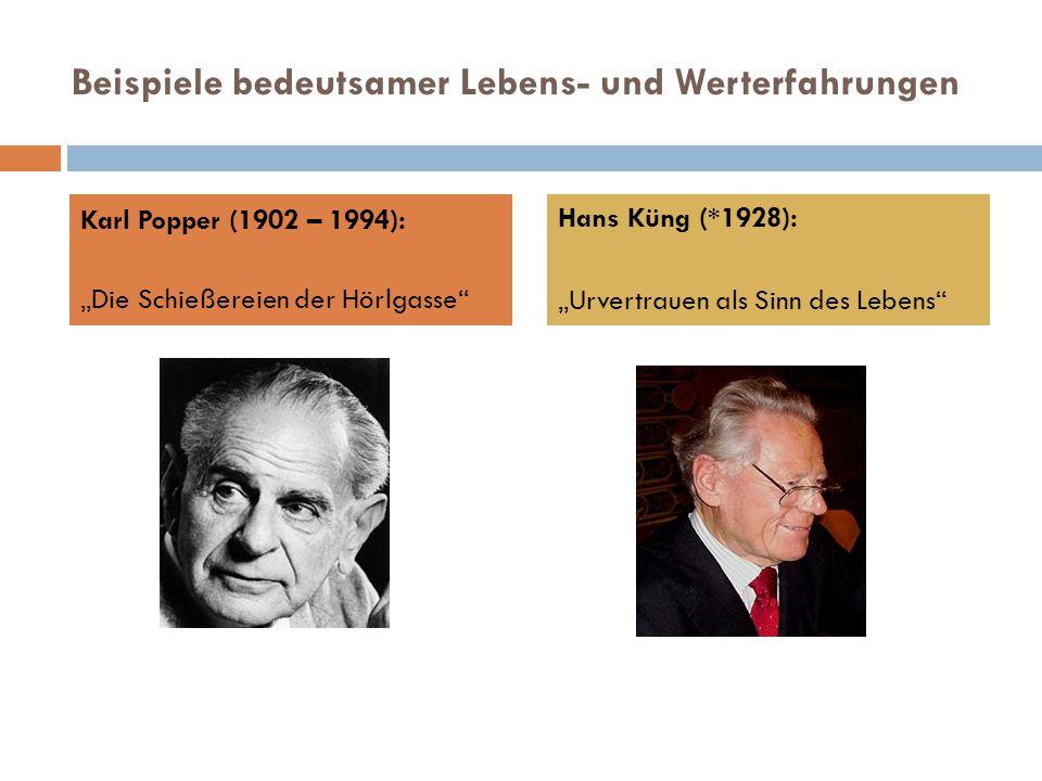 """Beispiele bedeutsamer Lebens- und Werterfahrungen Karl Popper (1902 – 1994): """"Die Schießereien der Hörlgasse Hans Küng (*1928): """"Urvertrauen als Sinn des Lebens"""