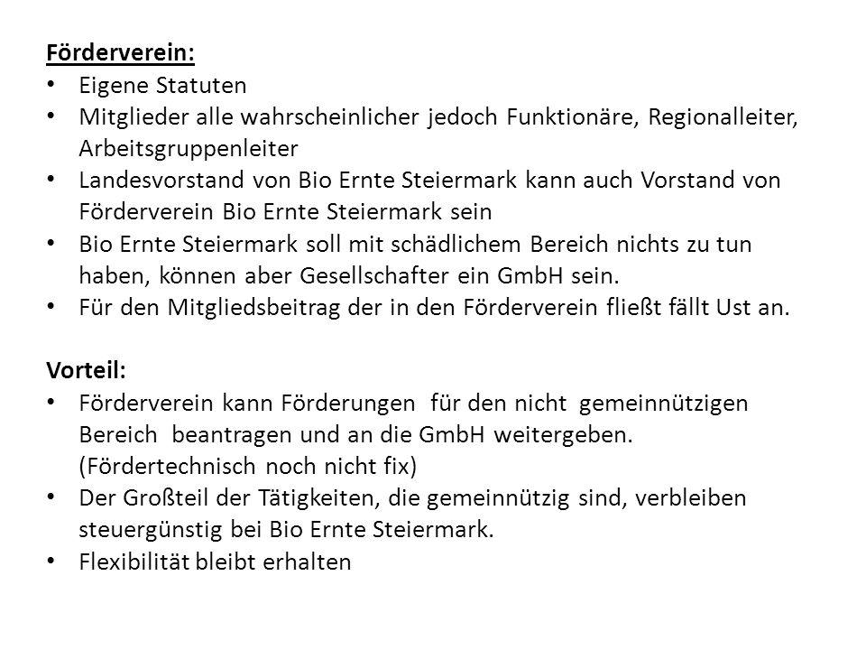 Förderverein: Eigene Statuten Mitglieder alle wahrscheinlicher jedoch Funktionäre, Regionalleiter, Arbeitsgruppenleiter Landesvorstand von Bio Ernte S
