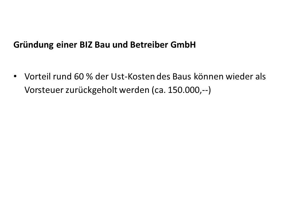 Gründung einer BIZ Bau und Betreiber GmbH Vorteil rund 60 % der Ust-Kosten des Baus können wieder als Vorsteuer zurückgeholt werden (ca. 150.000,--)