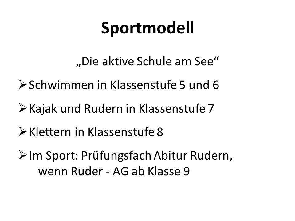 """Sportmodell """"Die aktive Schule am See""""  Schwimmen in Klassenstufe 5 und 6  Kajak und Rudern in Klassenstufe 7  Klettern in Klassenstufe 8  Im Spor"""