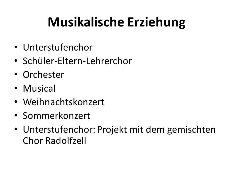 Musikalische Erziehung Unterstufenchor Schüler-Eltern-Lehrerchor Orchester Musical Weihnachtskonzert Sommerkonzert Unterstufenchor: Projekt mit dem ge