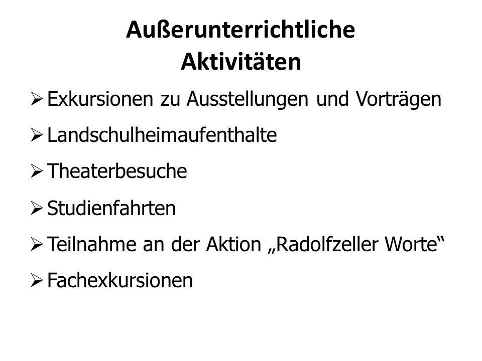 """ Exkursionen zu Ausstellungen und Vorträgen  Landschulheimaufenthalte  Theaterbesuche  Studienfahrten  Teilnahme an der Aktion """"Radolfzeller Wort"""
