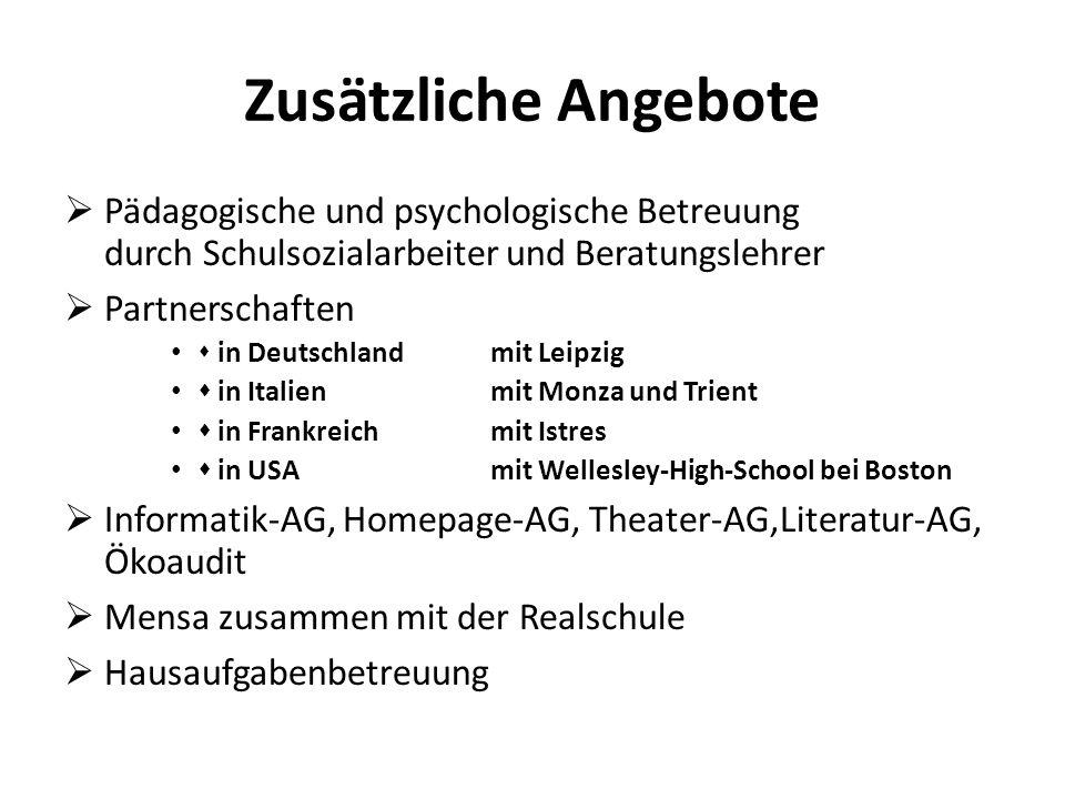  Pädagogische und psychologische Betreuung durch Schulsozialarbeiter und Beratungslehrer  Partnerschaften  in Deutschlandmit Leipzig  in Italien m