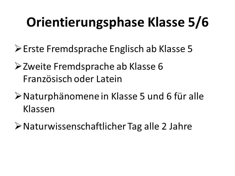 Orientierungsphase Klasse 5/6  Erste Fremdsprache Englisch ab Klasse 5  Zweite Fremdsprache ab Klasse 6 Französisch oder Latein  Naturphänomene in