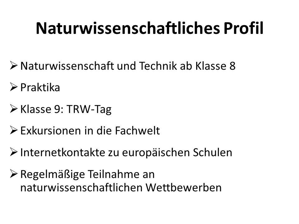  Naturwissenschaft und Technik ab Klasse 8  Praktika  Klasse 9: TRW-Tag  Exkursionen in die Fachwelt  Internetkontakte zu europäischen Schulen 
