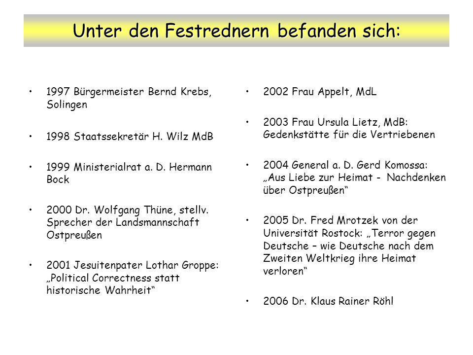 Unter den Festrednern befanden sich: 1997 Bürgermeister Bernd Krebs, Solingen 1998 Staatssekretär H. Wilz MdB 1999 Ministerialrat a. D. Hermann Bock 2