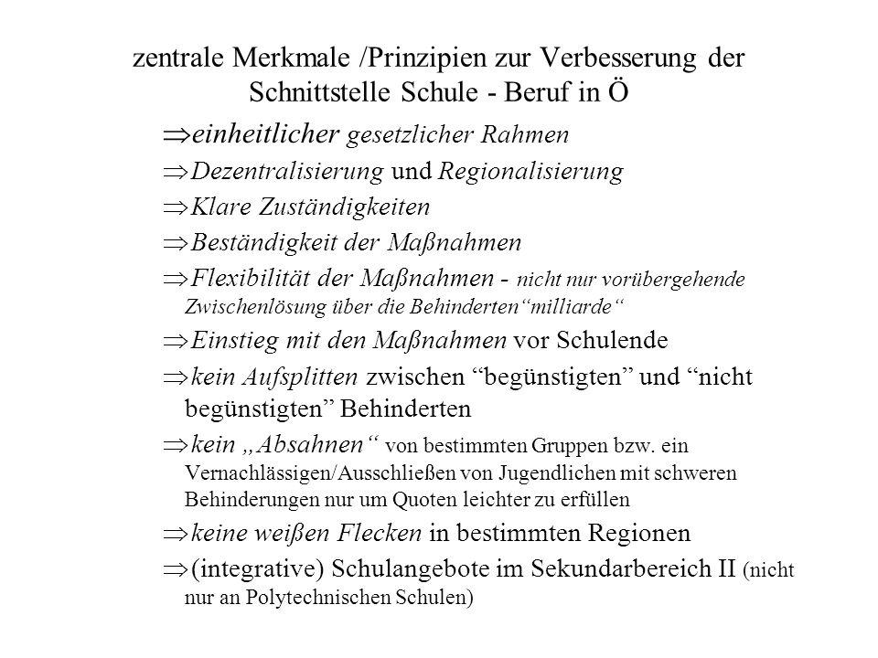 zentrale Merkmale /Prinzipien zur Verbesserung der Schnittstelle Schule - Beruf in Ö  einheitlicher gesetzlicher Rahmen  Dezentralisierung und Regio