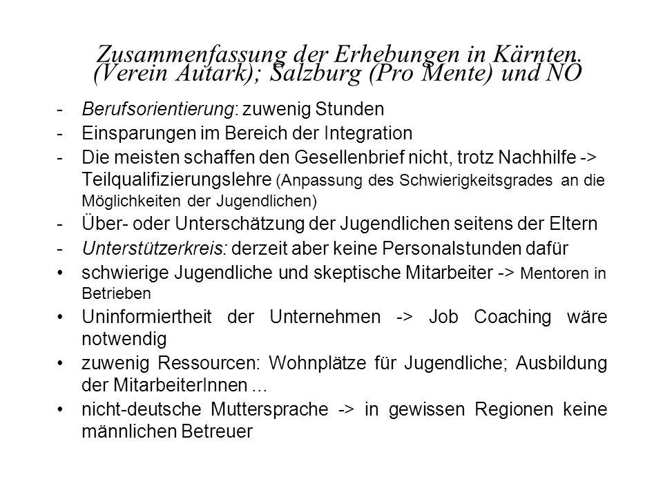 Zusammenfassung der Erhebungen in Kärnten (Verein Autark); Salzburg (Pro Mente) und NÖ -Berufsorientierung: zuwenig Stunden -Einsparungen im Bereich d