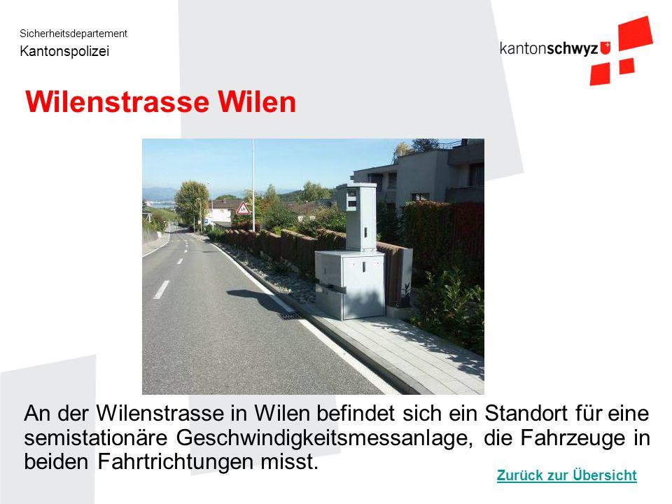 Sicherheitsdepartement Kantonspolizei Wilenstrasse Wilen An der Wilenstrasse in Wilen befindet sich ein Standort für eine semistationäre Geschwindigke