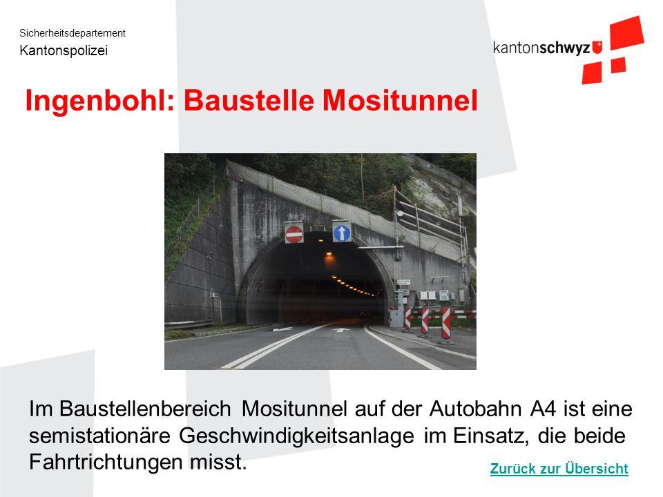 Sicherheitsdepartement Kantonspolizei Ingenbohl: Baustelle Mositunnel Im Baustellenbereich Mositunnel auf der Autobahn A4 ist eine semistationäre Gesc