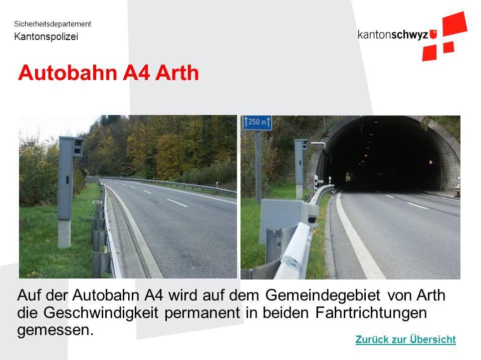 Sicherheitsdepartement Kantonspolizei Autobahn A4 Arth Auf der Autobahn A4 wird auf dem Gemeindegebiet von Arth die Geschwindigkeit permanent in beide