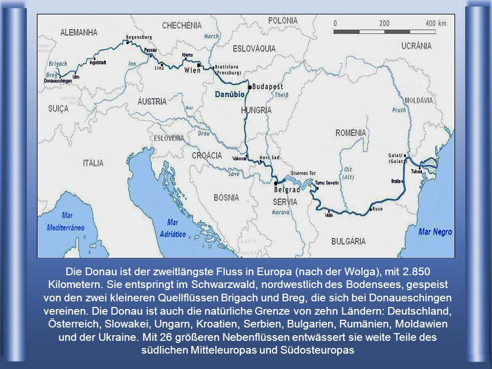 Die Donau ist der zweitlängste Fluss in Europa (nach der Wolga), mit 2.850 Kilometern.