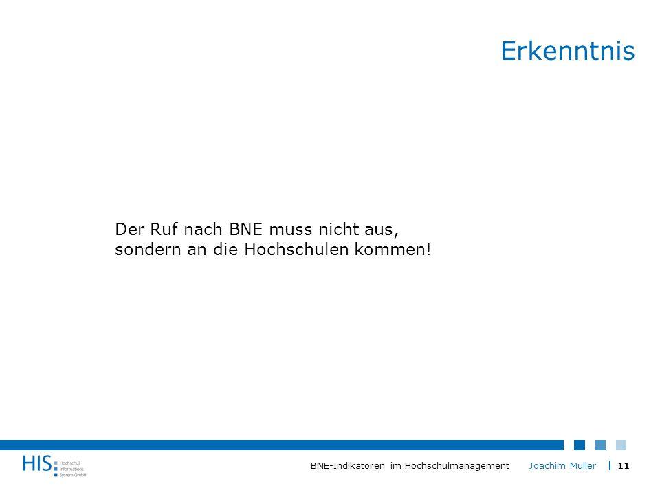 11BNE-Indikatoren im Hochschulmanagement Joachim Müller Erkenntnis Der Ruf nach BNE muss nicht aus, sondern an die Hochschulen kommen!