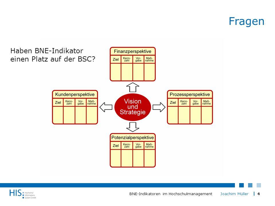 4BNE-Indikatoren im Hochschulmanagement Joachim Müller Fragen Haben BNE-Indikator einen Platz auf der BSC