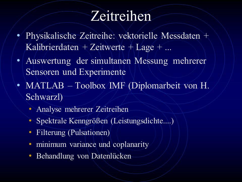 Zeitreihen Physikalische Zeitreihe: vektorielle Messdaten + Kalibrierdaten + Zeitwerte + Lage +...