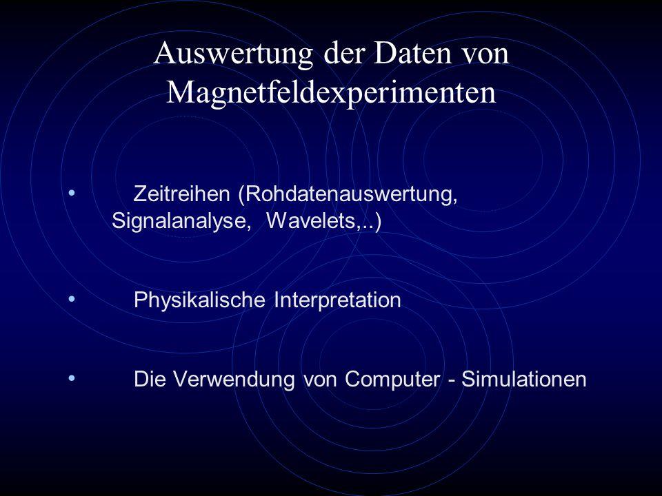 Computerexperimente Nachbildung der Sensoren und der Elektronik Simulation der Magnetometersoftware Spektralanalyse (FFT) Filterung Standartabweichung Datenkompression Simulation physikalischer Vorgänge Kommerzielle Software (Femlab) oder eigene Software (viele Jahre Entwicklung) Matlab, IDL, Fortran, C,...