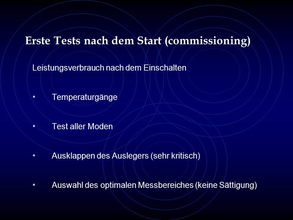 Erste Tests nach dem Start (commissioning) Leistungsverbrauch nach dem Einschalten Temperaturgänge Test aller Moden Ausklappen des Auslegers (sehr kritisch) Auswahl des optimalen Messbereiches (keine Sättigung)