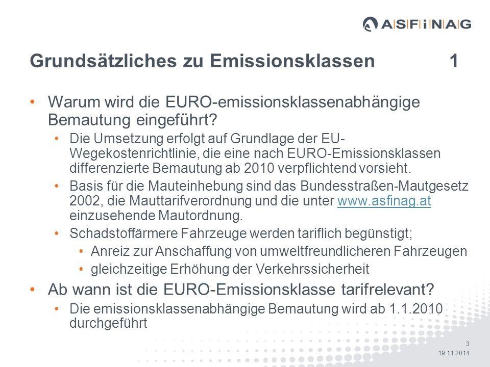 14 19.11.2014 SelfCare Portal – Emissionsklassenverwaltung Maske 3 - Fahrzeuge ohne Handlungsbedarf