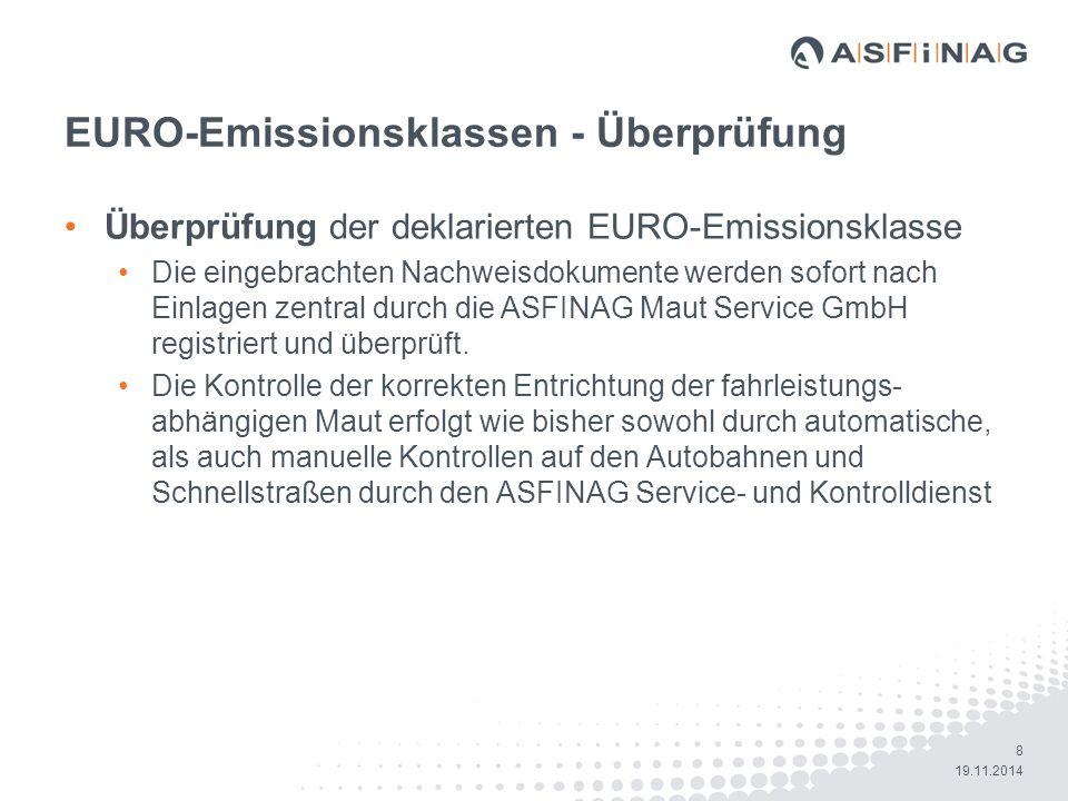 19 19.11.2014 Auszug aus den FAQs www.asfinag.at Wie lange habe ich bei falsch deklarierter Emissionsklasse Zeit nachzuzahlen.