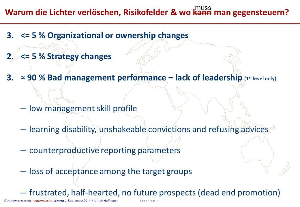 © All rights reserved. PerformNet AG Schweiz / September 2014 / Ulrich Hoffmann Seite / Page: 4 Warum die Lichter verlöschen, Risikofelder & wo kann m