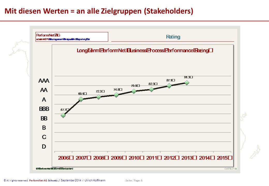 © All rights reserved. PerformNet AG Schweiz / September 2014 / Ulrich Hoffmann Seite / Page: 6 Mit diesen Werten = an alle Zielgruppen (Stakeholders)