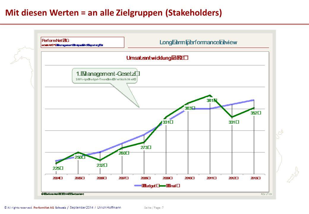 © All rights reserved. PerformNet AG Schweiz / September 2014 / Ulrich Hoffmann Seite / Page: 7 Mit diesen Werten = an alle Zielgruppen (Stakeholders)