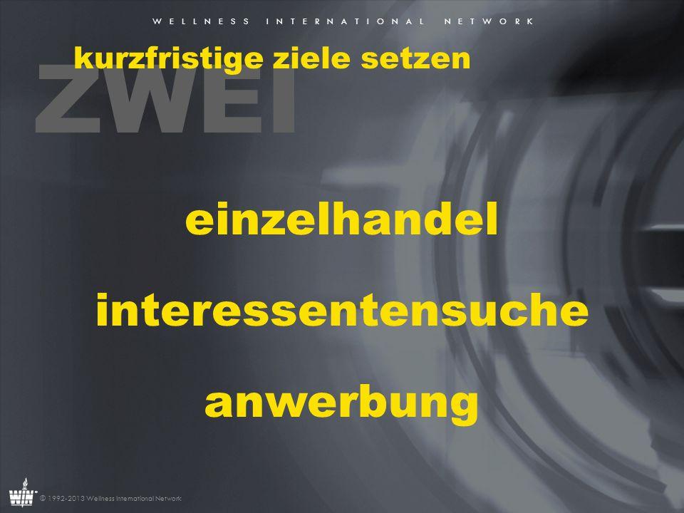 W E L L N E S S I N T E R N A T I O N A L N E T W O R K ® © 1992-2013 Wellness International Network DREI mit dem warmen markt beginnen 1.