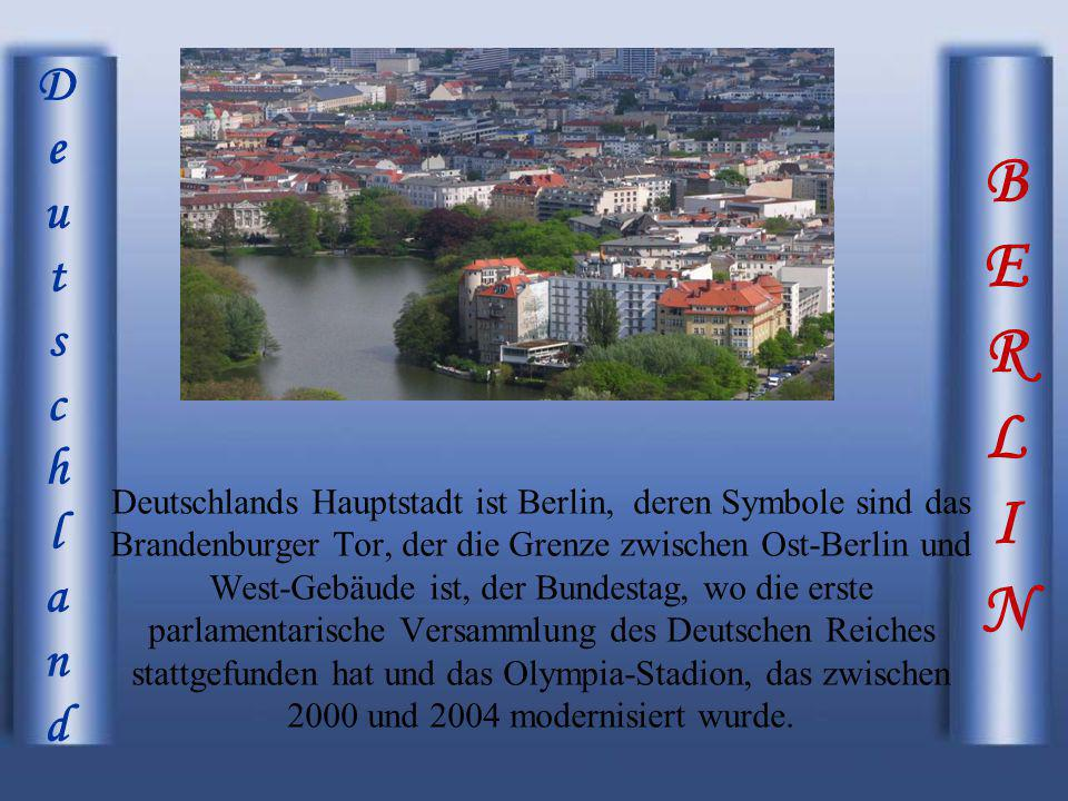 BERLINBERLIN DeutschlandDeutschland Deutschlands Hauptstadt ist Berlin, deren Symbole sind das Brandenburger Tor, der die Grenze zwischen Ost-Berlin u