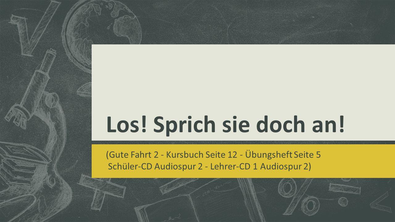 Los! Sprich sie doch an! (Gute Fahrt 2 - Kursbuch Seite 12 - Übungsheft Seite 5 Schüler-CD Audiospur 2 - Lehrer-CD 1 Audiospur 2)