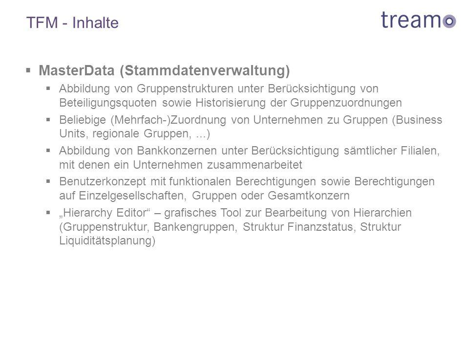 TFM - Inhalte  MasterData (Stammdatenverwaltung)  Abbildung von Gruppenstrukturen unter Berücksichtigung von Beteiligungsquoten sowie Historisierung