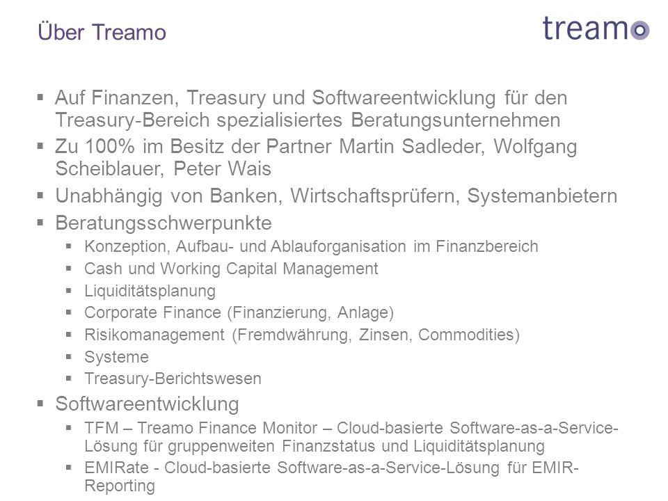 Über Treamo  Auf Finanzen, Treasury und Softwareentwicklung für den Treasury-Bereich spezialisiertes Beratungsunternehmen  Zu 100% im Besitz der Par