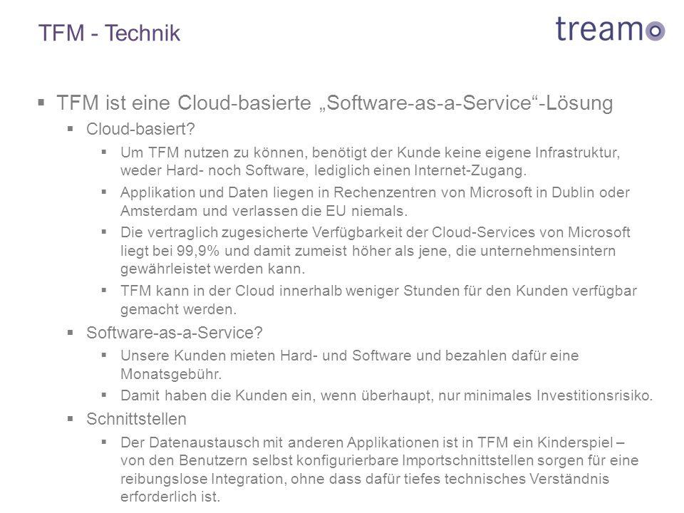 """ TFM ist eine Cloud-basierte """"Software-as-a-Service""""-Lösung  Cloud-basiert?  Um TFM nutzen zu können, benötigt der Kunde keine eigene Infrastruktur"""