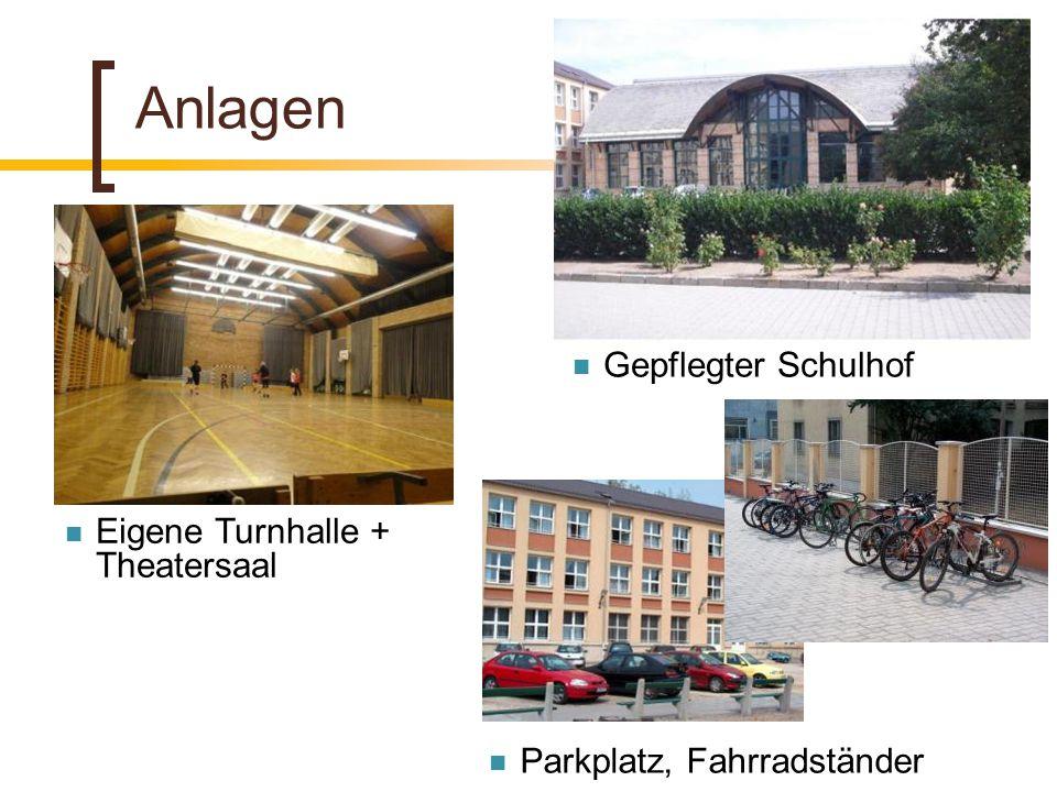Anlagen Eigene Turnhalle + Theatersaal Parkplatz, Fahrradständer Gepflegter Schulhof