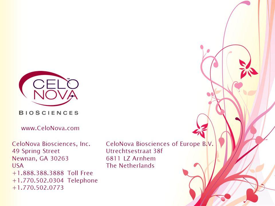 CeloNova Biosciences, Inc. 49 Spring Street Newnan, GA 30263 USA +1.888.388.3888 Toll Free +1.770.502.0304 Telephone +1.770.502.0773 CeloNova Bioscien