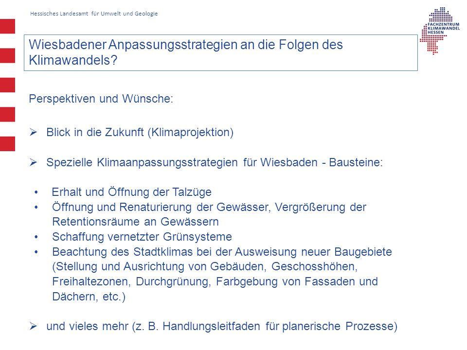 Hessisches Landesamt für Umwelt und Geologie Wiesbadener Anpassungsstrategien an die Folgen des Klimawandels.