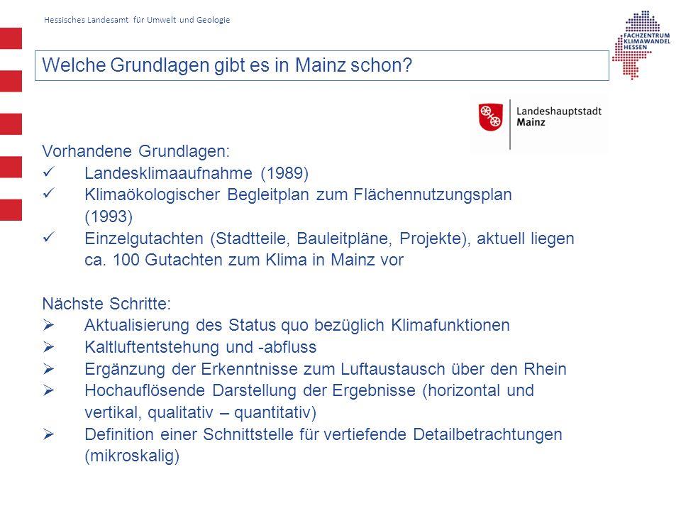Hessisches Landesamt für Umwelt und Geologie Welche Grundlagen gibt es in Mainz schon.