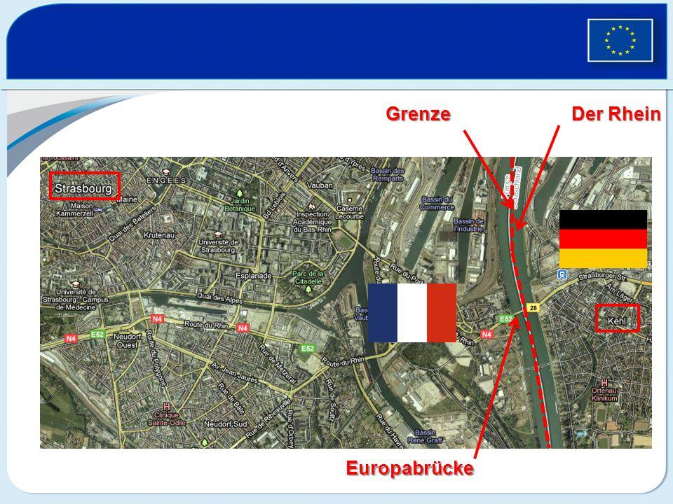 Grenze Europabrücke Der Rhein