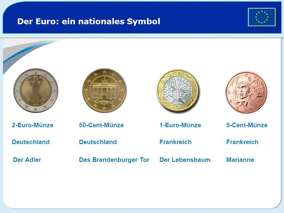 Der Euro: ein nationales Symbol 2-Euro-Münze1-Euro-Münze50-Cent-Münze5-Cent-Münze Deutschland Der Adler Deutschland Das Brandenburger Tor Frankreich Der Lebensbaum Frankreich Marianne