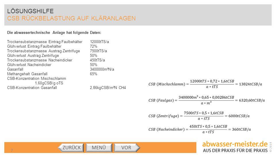 © 2014 LÖSUNGSHILFE CSB RÜCKBELASTUNG AUF KLÄRANLAGEN MENÜVORZURÜCK 8 (Landwirtschaft) (Rückbelastung) (Faulgas) CSB (Mischschlamm) = 13824tCSB/a