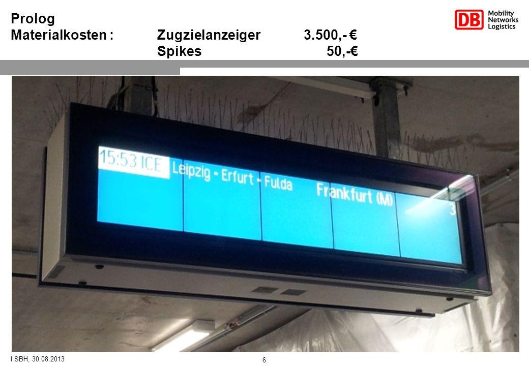 I.SBH, 30.08.2013 6 Prolog Materialkosten : Zugzielanzeiger 3.500,- € Spikes 50,-€
