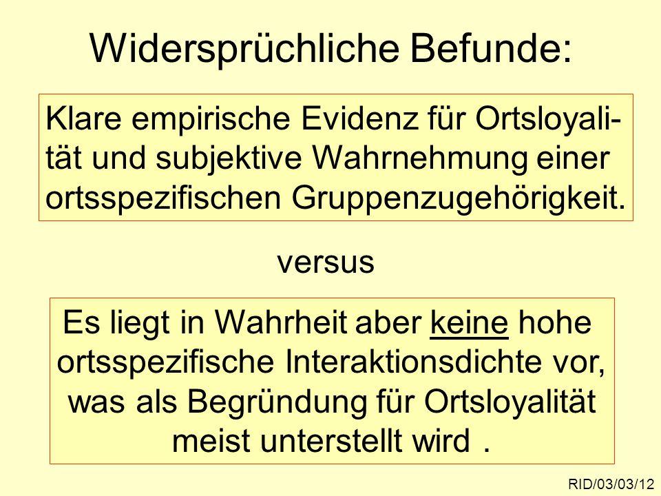 Widersprüchliche Befunde: RID/03/03/12 Klare empirische Evidenz für Ortsloyali- tät und subjektive Wahrnehmung einer ortsspezifischen Gruppenzugehörig