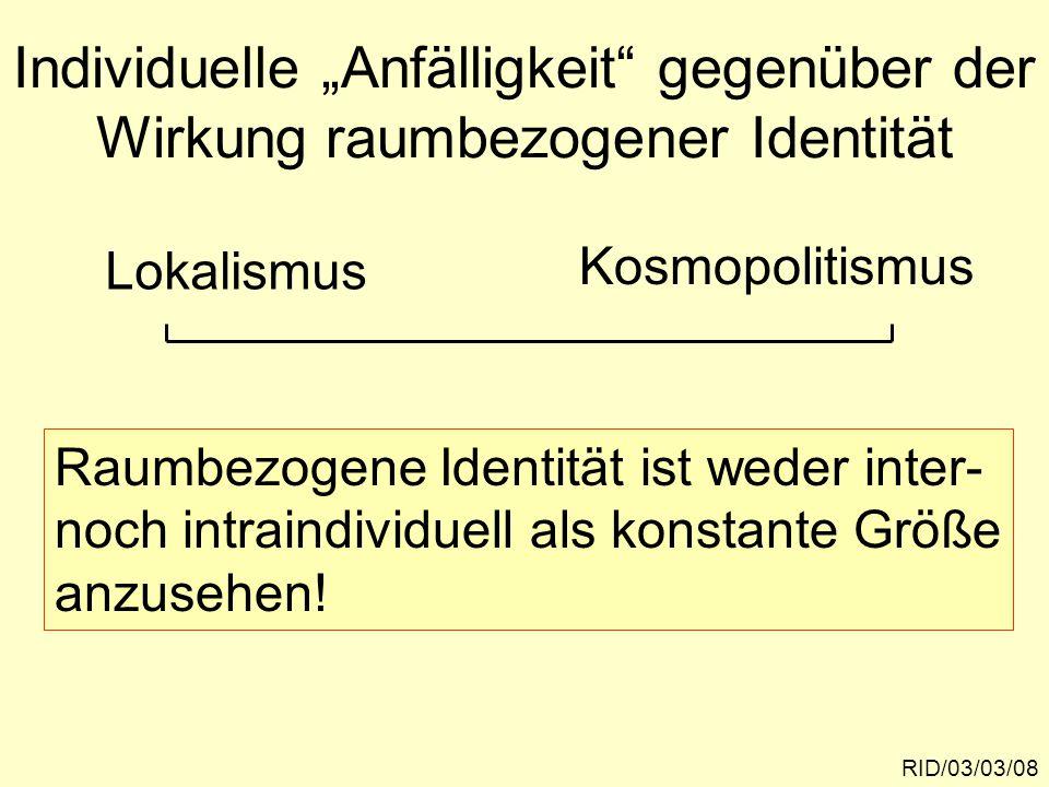 """Individuelle """"Anfälligkeit"""" gegenüber der Wirkung raumbezogener Identität RID/03/03/08 Lokalismus Kosmopolitismus Raumbezogene Identität ist weder int"""