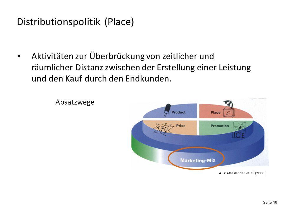 Seite 10 Distributionspolitik (Place) Absatzwege Aktivitäten zur Überbrückung von zeitlicher und räumlicher Distanz zwischen der Erstellung einer Leistung und den Kauf durch den Endkunden.