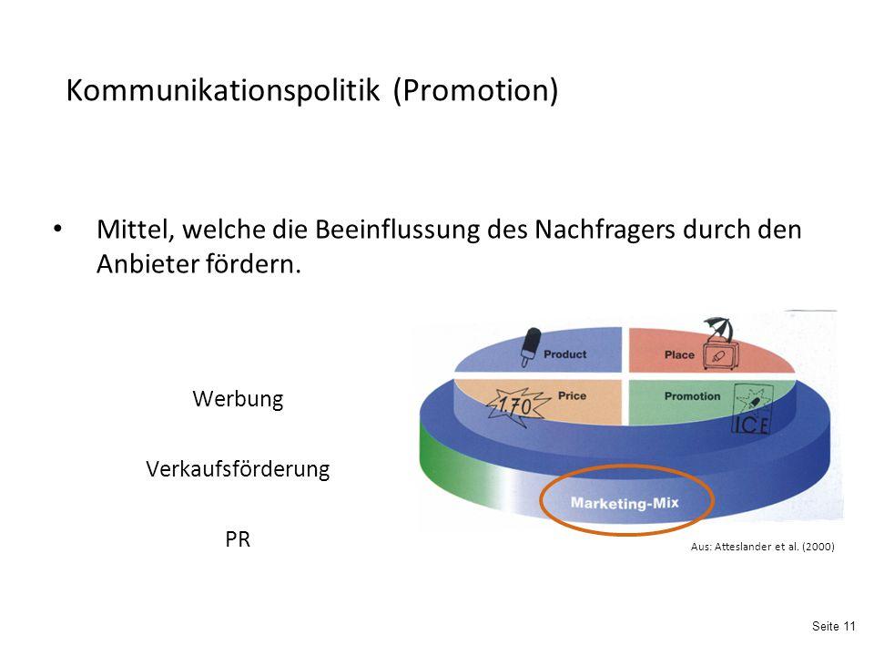 Seite 11 Kommunikationspolitik (Promotion) Werbung Verkaufsförderung PR Mittel, welche die Beeinflussung des Nachfragers durch den Anbieter fördern.