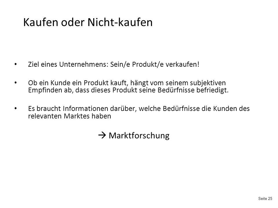 Seite 25 Kaufen oder Nicht-kaufen Ziel eines Unternehmens: Sein/e Produkt/e verkaufen.